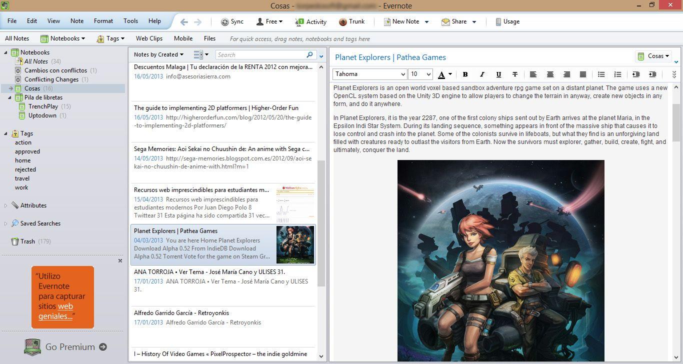 Evernote screenshot english