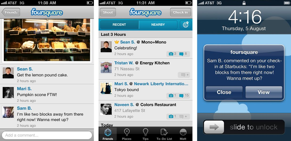 Foursquare screenshot smartphone