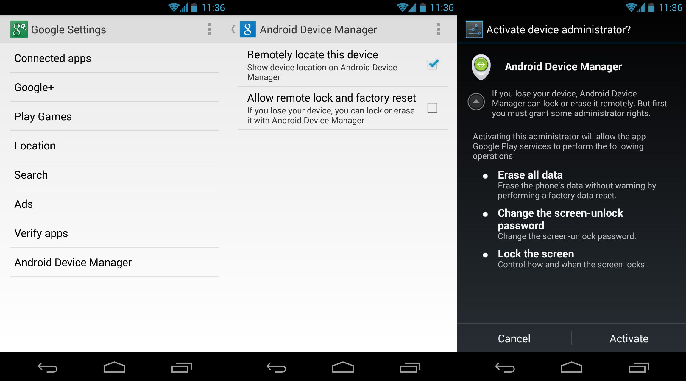 Android-device-manager-activation