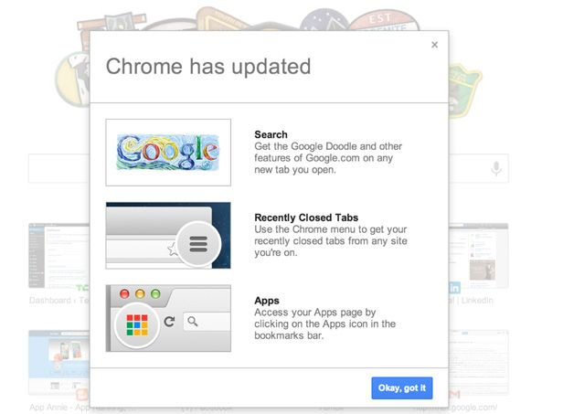 Google Chrome new tab screenshot
