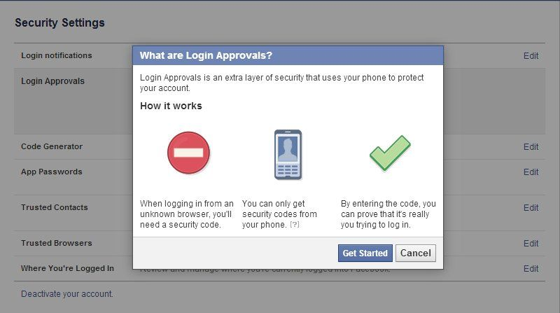 Facebook security options
