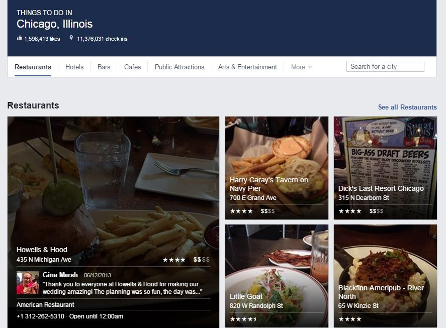 Facebook places restaurants