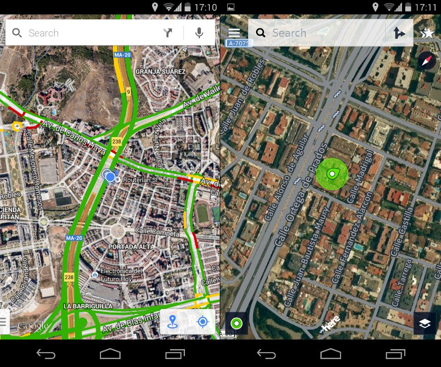 Maps services on Android: Google Maps vs HERE Maps