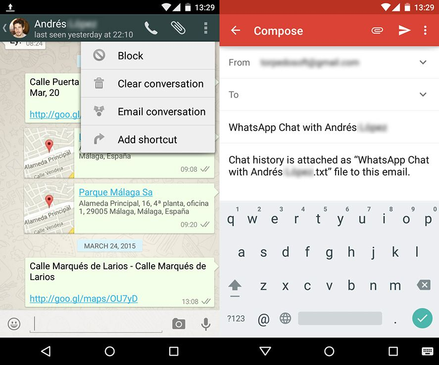How to send WhatsApp chats by email