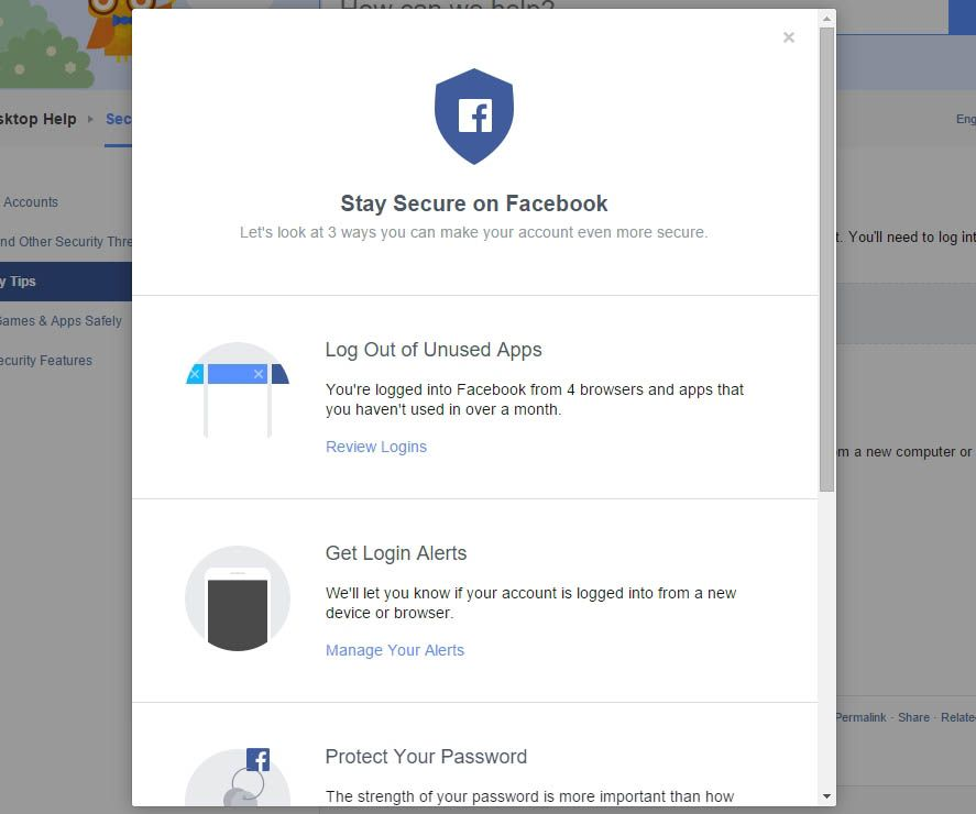 Two-step verification Facebool