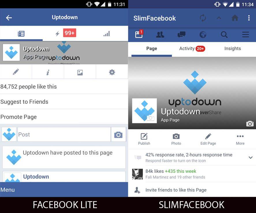 Uptodown page in Facebook Lite and SlimFacebook