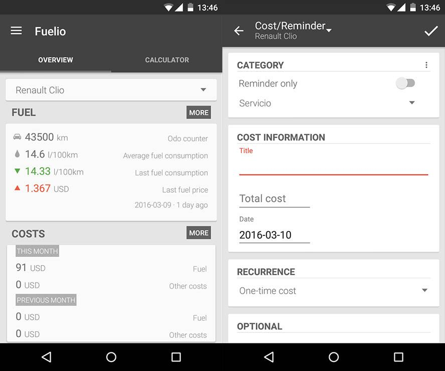 The Fuelio app lets you manage your vehicle expenses