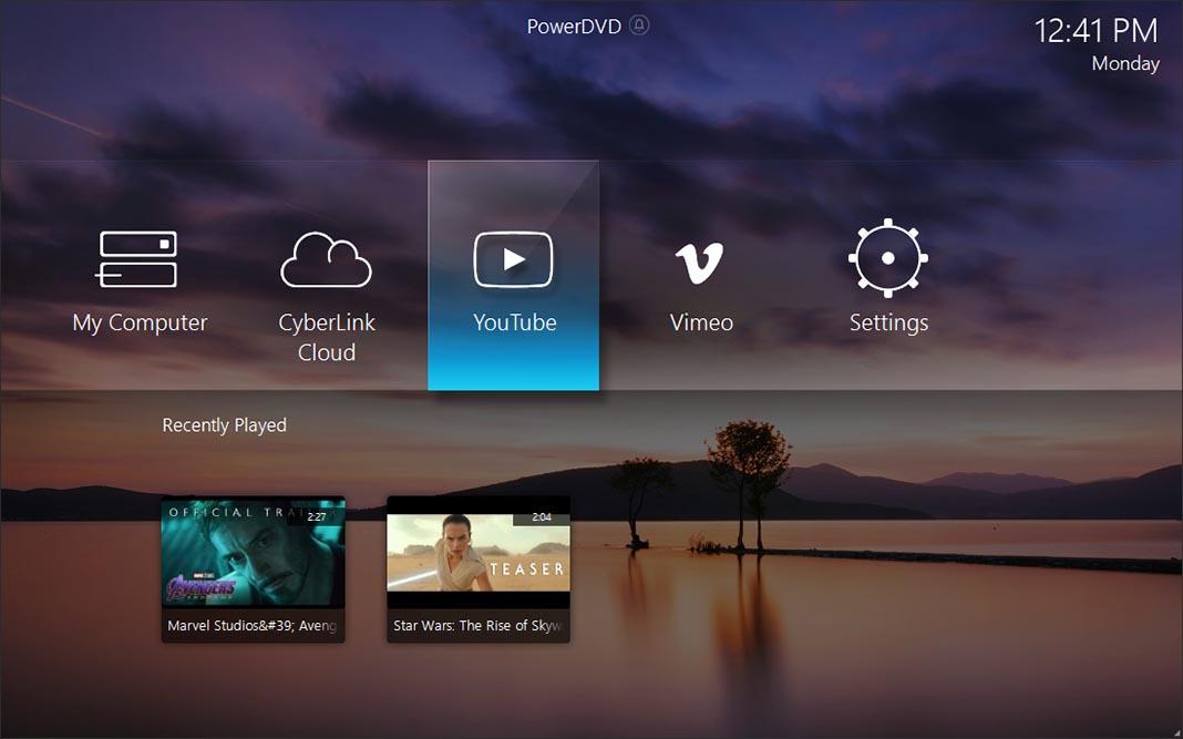 PowerDVD 19 main menu