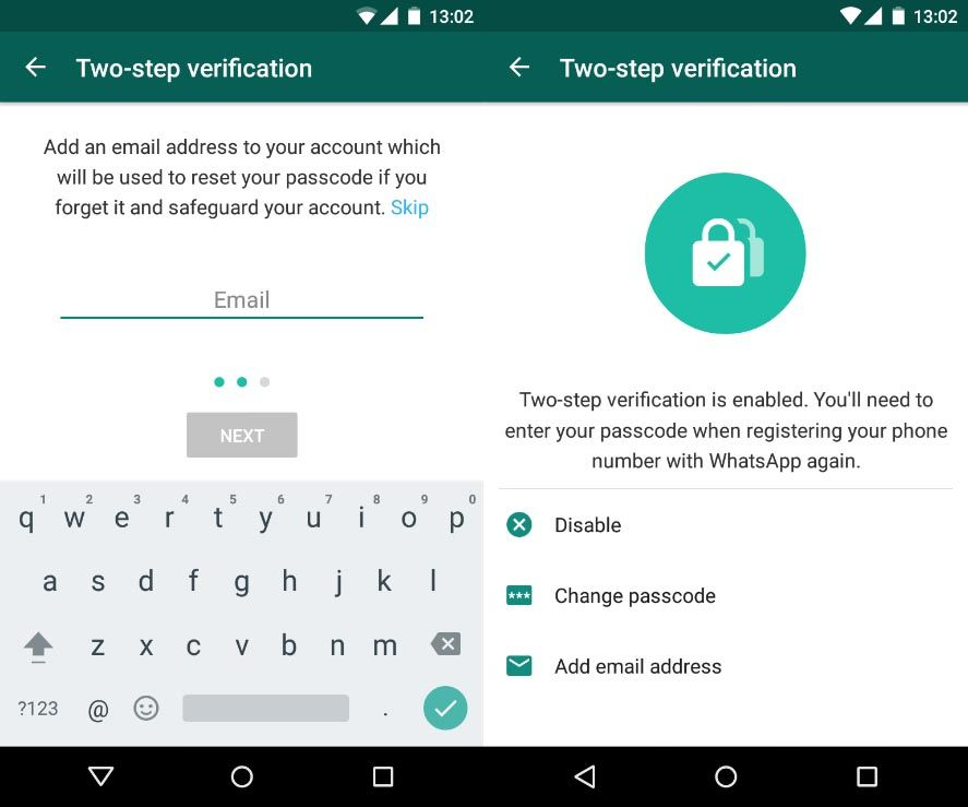 Two-step verification for on WhatsApp