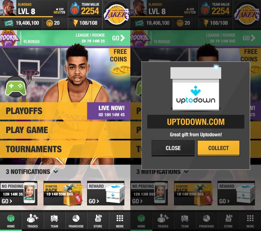 Earn free coins for NBA General Manager 2017 with Uptodown