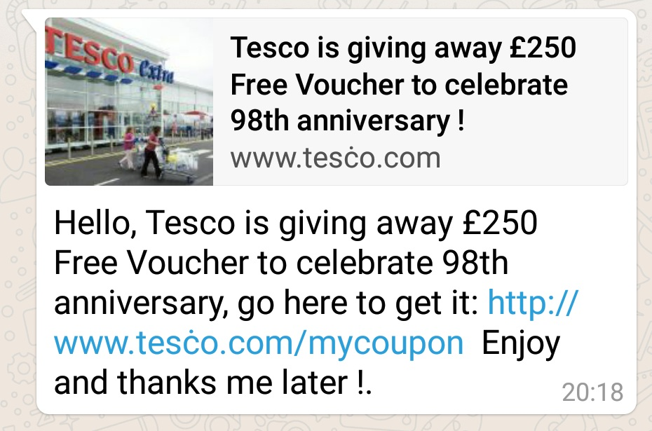 tesco phishing whatsapp Five tips to protect your Android device from malware