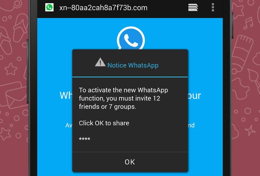 Beware! A WhatsApp link offering new color themes is a scam