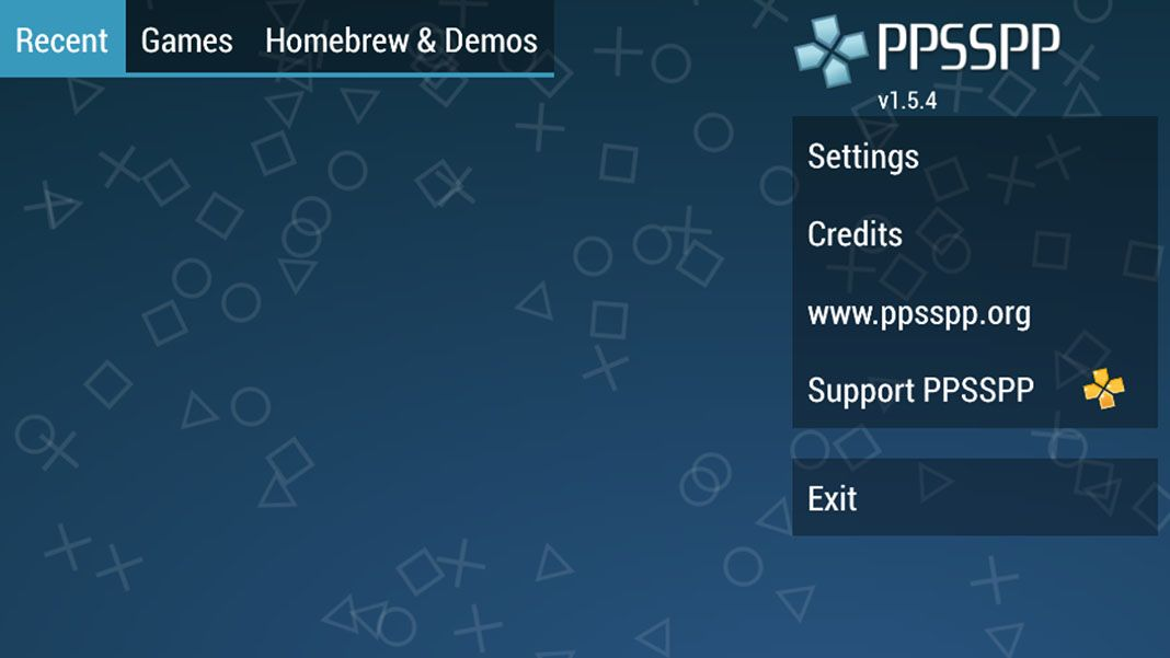 PPSSPP for Android menu