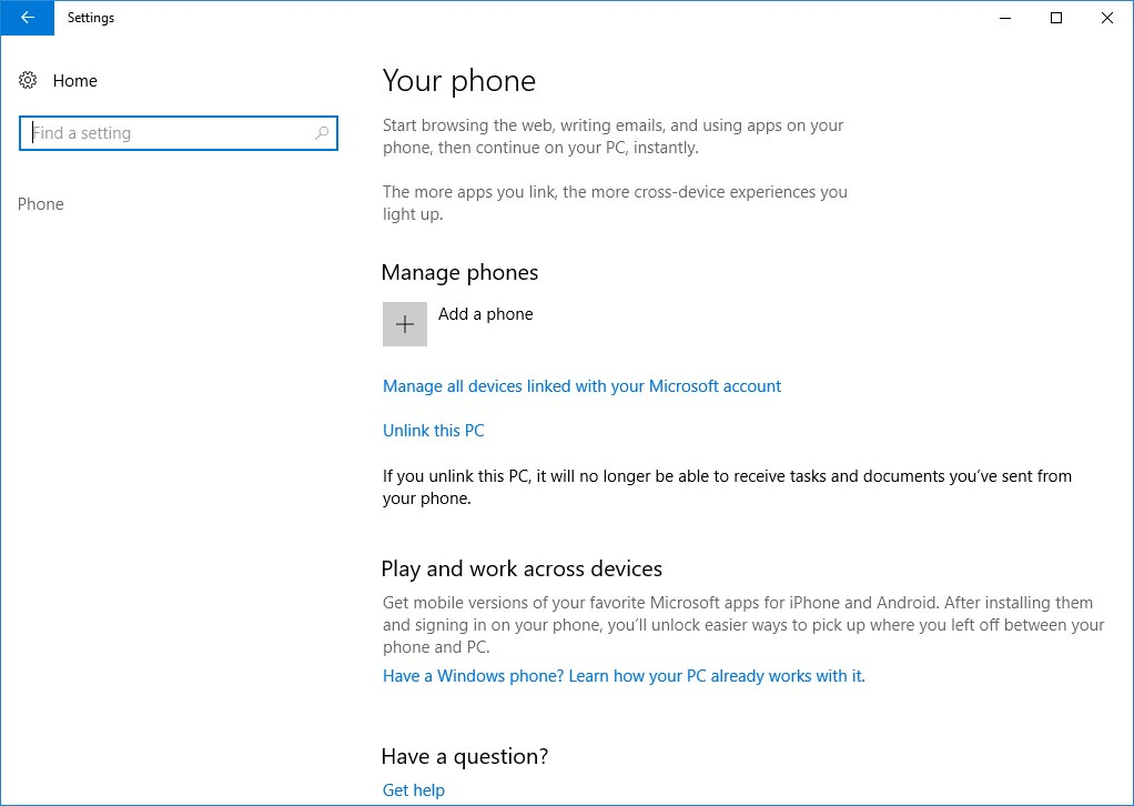 Add your phone on Windows account