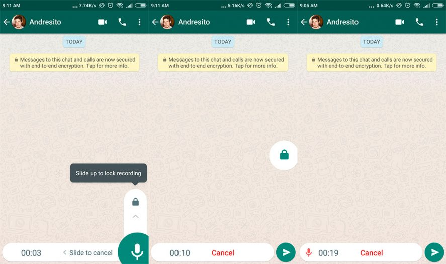 whatsapp bloqueo voz screenshot en How to use the new mic lock with WhatsApp voice messages