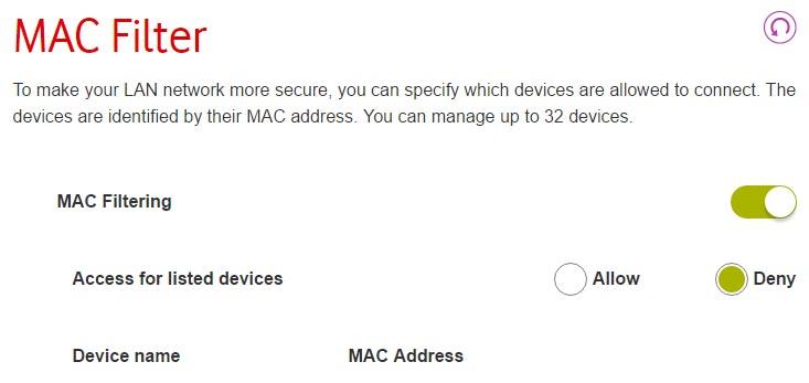 Vodafone Router Mac Filtro