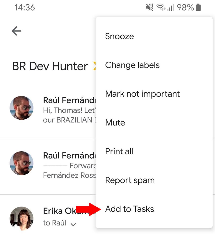 gmail task screenshot en Google Tasks is (finally) included in the Gmail app