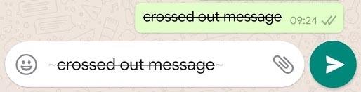 WhatsApp Format Crossed