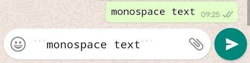WhatsApp Format Monospace