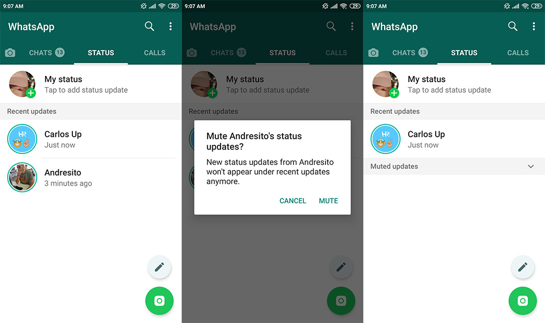 whatsapp status muted 1 How to silence and hide your contacts' WhatsApp Statuses