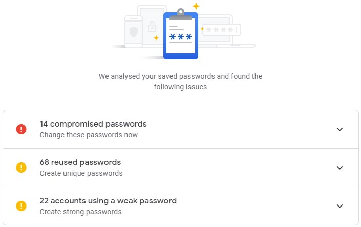 Google Security Check results