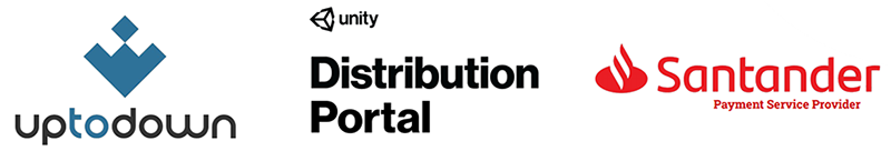 Uptodown Unity Distribution Portal Bank Santander logos